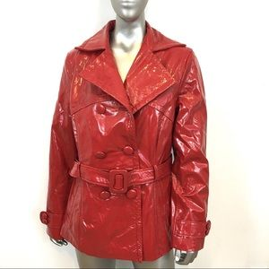 MARK ALAN Fire Engine Red Patent Leather Coat
